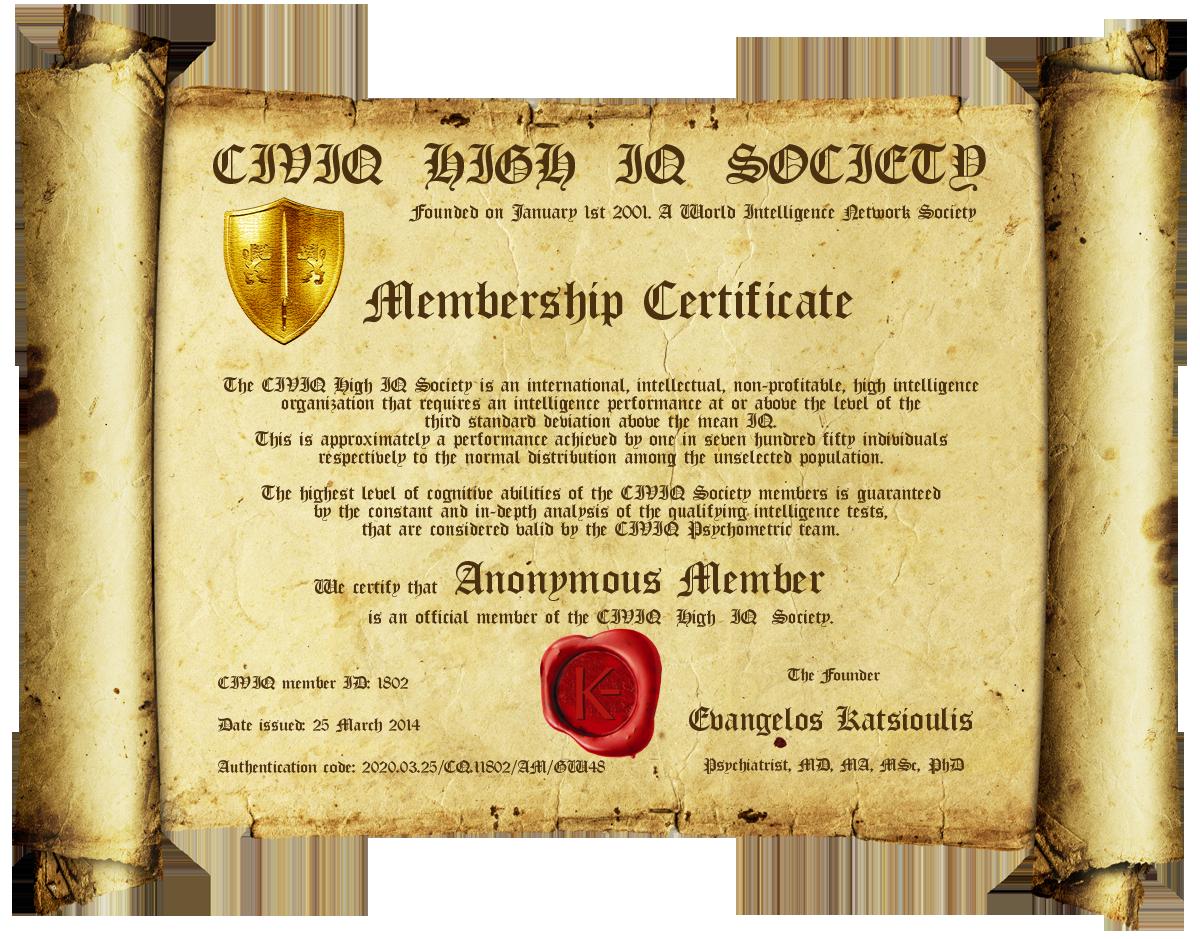 membership certificate sample
